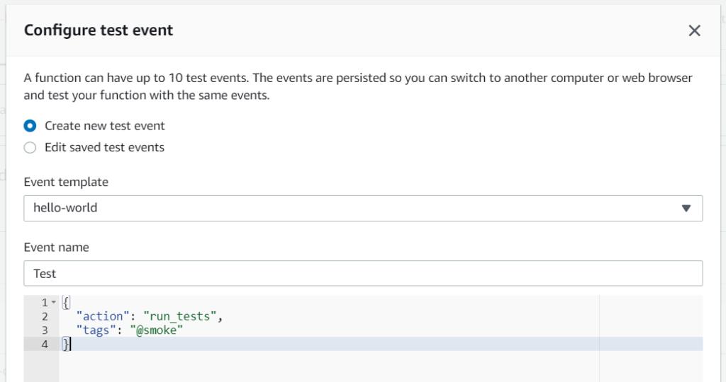 Lambda handlers - configuring test event