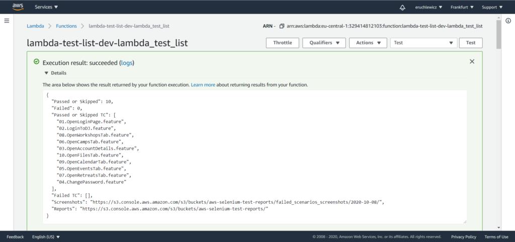 AWS lambda test list